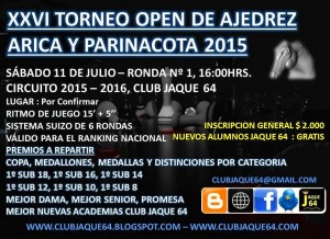 XXVI OPEN ARICA Y PARINACOTA CLUB JAQUE 64.CB