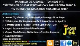 CON 2 TORNEOS IRT JAQUE 64 COMIENZA SU CICLO DE COMPETENCIAS 2016-2017 EN ARICA